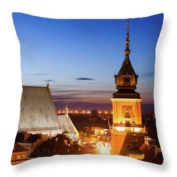 Old Town Of Warsaw Twilight Skyline In Poland Throw Pillow