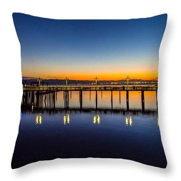 Old Town Pier Blue Hour Sunrise Throw Pillow