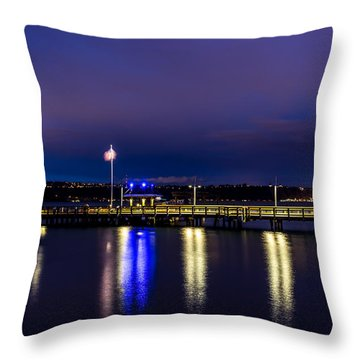 Old Town Pier During The Blue Hour Throw Pillow