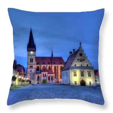 Old Town Square In Bardejov, Slovakia,hdr Throw Pillow by Elenarts - Elena Duvernay photo