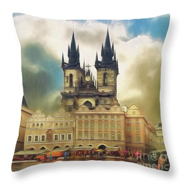 Old Town Square Prague In The Rain Throw Pillow