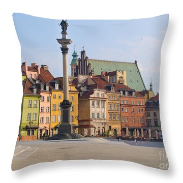Old Town Square Zamkowy Plac In Warsaw Throw Pillow