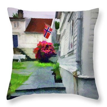 Old Town Stavanger - Painterly Throw Pillow
