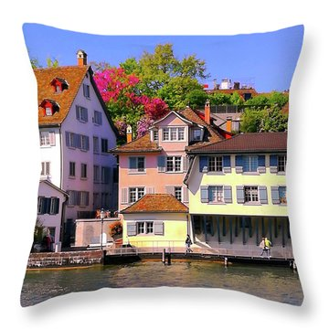 Old Town Zurich, Switzerland Throw Pillow