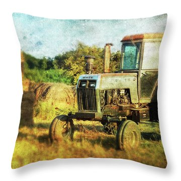 Throw Pillow featuring the photograph Old Tractor And Hay Rolls by Anna Louise
