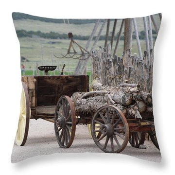 Old Tractor And Wagon In Foreground Cove Creek Fort Photography By Colleen Throw Pillow