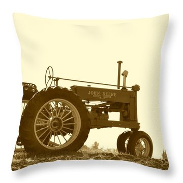 Old Tractor IIi In Sepia Throw Pillow
