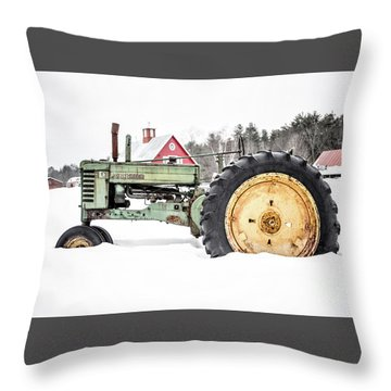 Throw Pillow featuring the photograph Old Tractor In The Snow Quechee Vermont by Edward Fielding