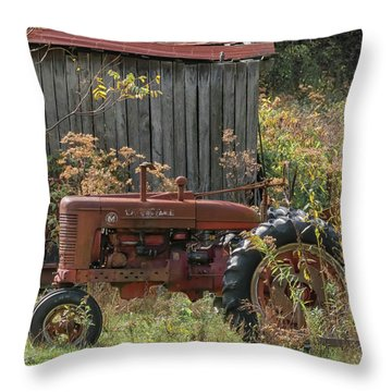 Old Tractor On The Farm. Throw Pillow