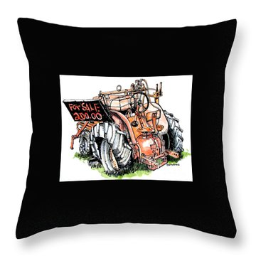 Throw Pillow featuring the painting Old Tractor by Terry Banderas