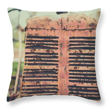 Throw Pillow featuring the photograph Old Tractor Vintage Look by Edward Fielding