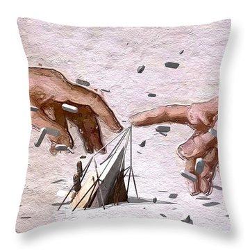 Traditional Art Vs. Digital Art Throw Pillow