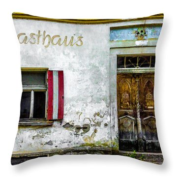Old Traditional Austrian Tavern Throw Pillow