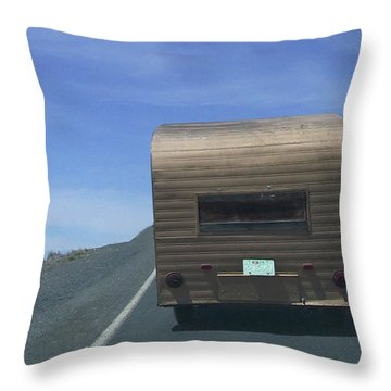 Old Trailer Throw Pillow