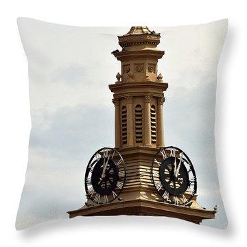 Old Train Depot Clock #1 Throw Pillow