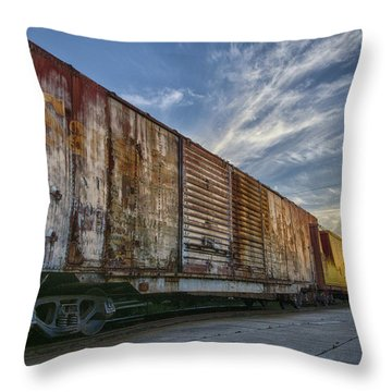 Old Train - Galveston, Tx Throw Pillow