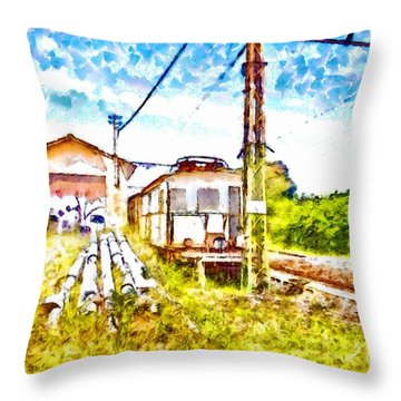 Old Train On The Dead Platform Throw Pillow