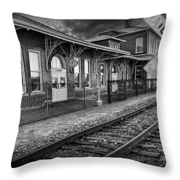 Old Train Station With Crossing Sign In Black And White Throw Pillow