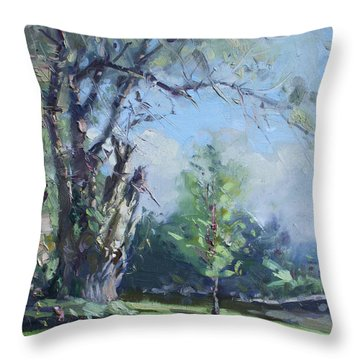 Old Tree And The Young Throw Pillow