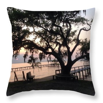 Old Tree At The Dock Throw Pillow