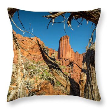 Old Trees At Fisher Towers Throw Pillow by Michael J Bauer
