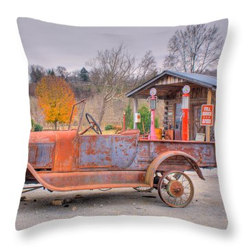 Old Truck And Gas Filling Station Throw Pillow by Douglas Barnett
