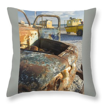 Old Truck In The Beach Throw Pillow