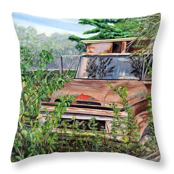 Old Truck Rusting Throw Pillow by Marilyn  McNish