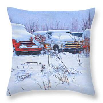 Old Trucks In Snow Throw Pillow