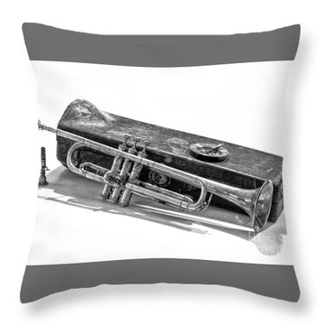 Throw Pillow featuring the photograph Old Trumpet by Walt Foegelle