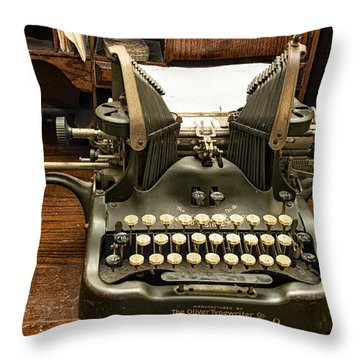 Throw Pillow featuring the photograph Old Typewriter by Linda Constant