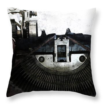 Old Typewriter Machine In Grunge Style Throw Pillow by Michal Boubin