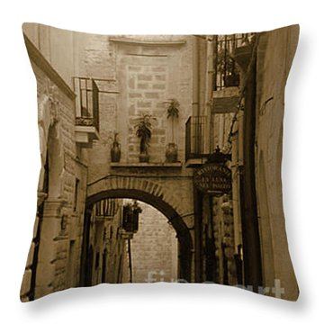 Old Village Street Throw Pillow
