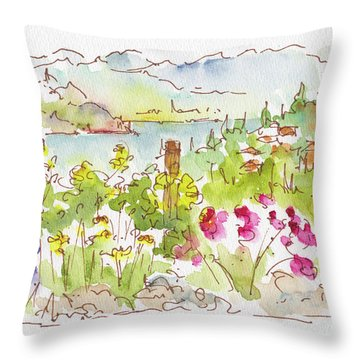 Throw Pillow featuring the painting Old Vines Okanagan by Pat Katz