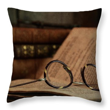 Old Vintage Books With Reading Glasses Throw Pillow