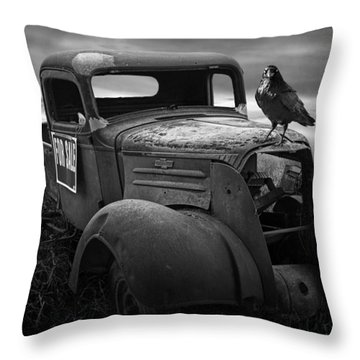 Old Vintage Chevy Pickup Truck With Ravens Throw Pillow