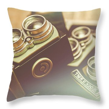 Old Vintage Faded Print Of Camera Equipment Throw Pillow