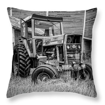 Old Vintage Tractor On A Farm In New Hampshire Square Throw Pillow