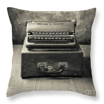Throw Pillow featuring the photograph Old Vintage Typewriter  by Edward Fielding