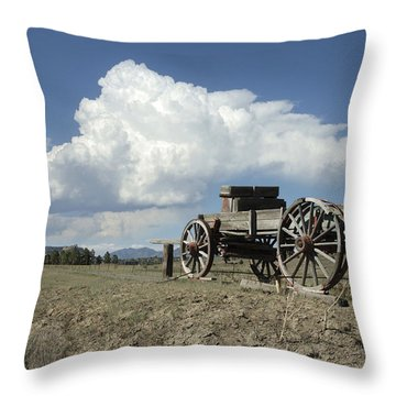 Old Wagon Out West Throw Pillow by Jerry McElroy