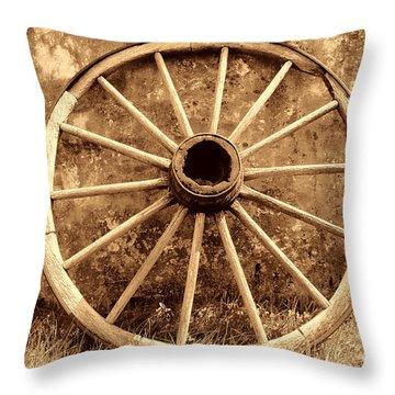 Old Wagon Wheel Throw Pillow