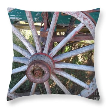 Throw Pillow featuring the photograph Old Wagon Wheel by Dora Sofia Caputo Photographic Art and Design