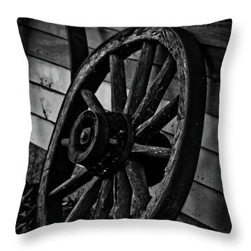 Old Wagon Wheel Throw Pillow by Joann Copeland-Paul
