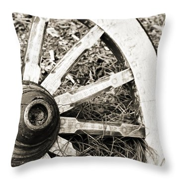 Old Wagon Wheel Throw Pillow by Marilyn Hunt