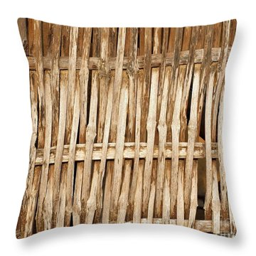 Old Wall Made From Bamboo Slats Throw Pillow by Yali Shi