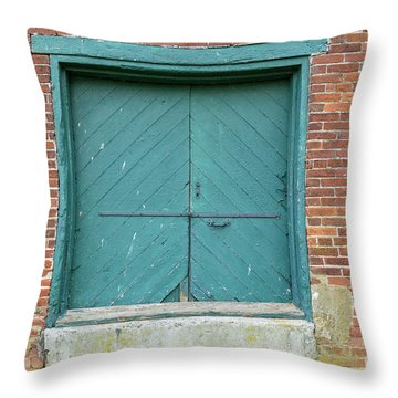 Old Warehouse Loading Door And Brick Wall Throw Pillow
