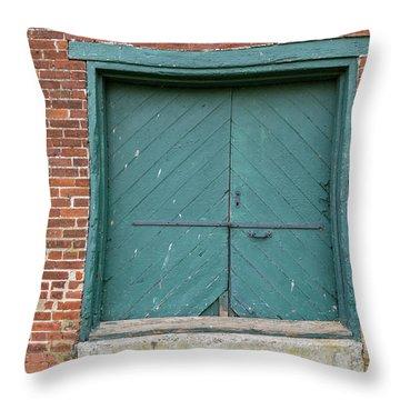 Old Warehouse Loading Door Throw Pillow
