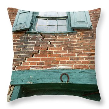 Old Warehouse Window And Lucky Door Throw Pillow