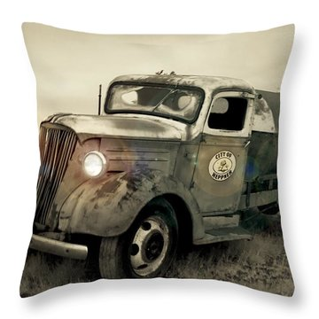 Old Water Truck Throw Pillow