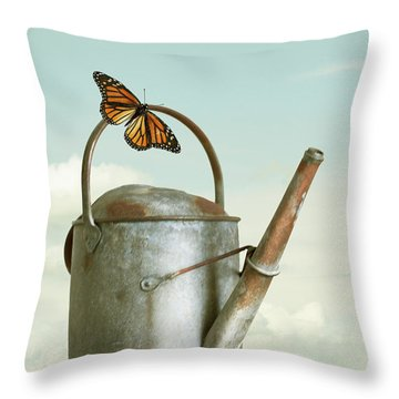 Old Watering Can With A Butterfly Throw Pillow